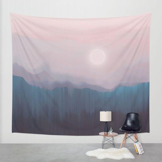 Pink Fog Wall Tapestry by Okti | Society6