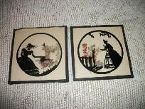 VINTAGE SILHOUETTE PICTURES VICTORIAN LADY/COUNTRY SETTING 2 PC.