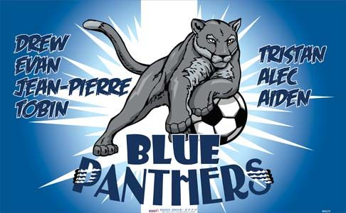 Panthers-Blue-46629  digitally printed vinyl soccer sports team banner. Made in the USA and shipped fast by BannersUSA. www.bannersusa.com
