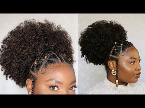 Super Cute Fulani Puff Hairstyle With Beads Easy Natural Hairstyles In 2020 Natural Hair Styles Easy Natural Hair Styles Hair Puff