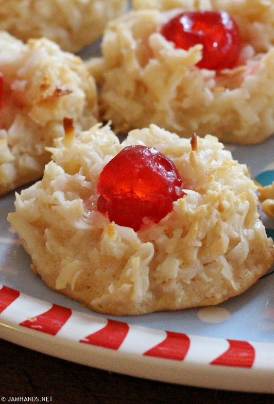Jam Hands: Cherry Topped Coconut Macaroons | JamHands.net Recipes ...