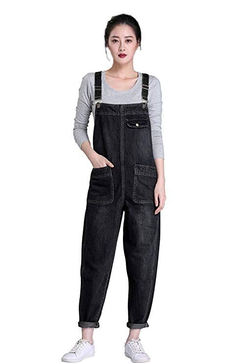 Womens Vintage Denim Bib Overalls Baggy Jumpsuits Jeans