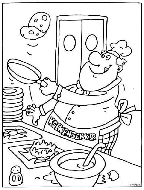 Pannenkoeken Bakker Kleurplaat Pannenkoek Bakker
