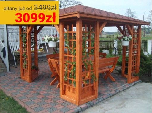 Drewniana Altana Ogrodowa Altanka Altanki Altany 6776547382 Oficjalne Archiwum Allegro Patio Outdoor Structures Outdoor Kitchen