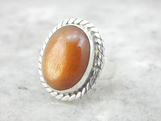 Glowing Golden Orange Sunstone Statement Ring In Silver CXQ94Y-N