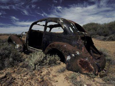 Burnt Out Antique Car Wreck