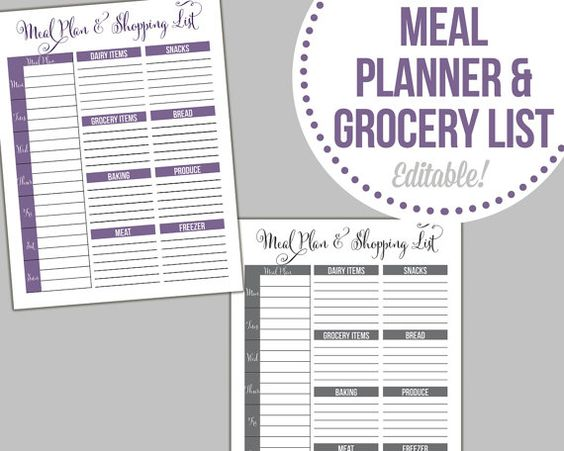 Meal Planner and Shopping List - Editable, Fillable PDF - INSTANT ...