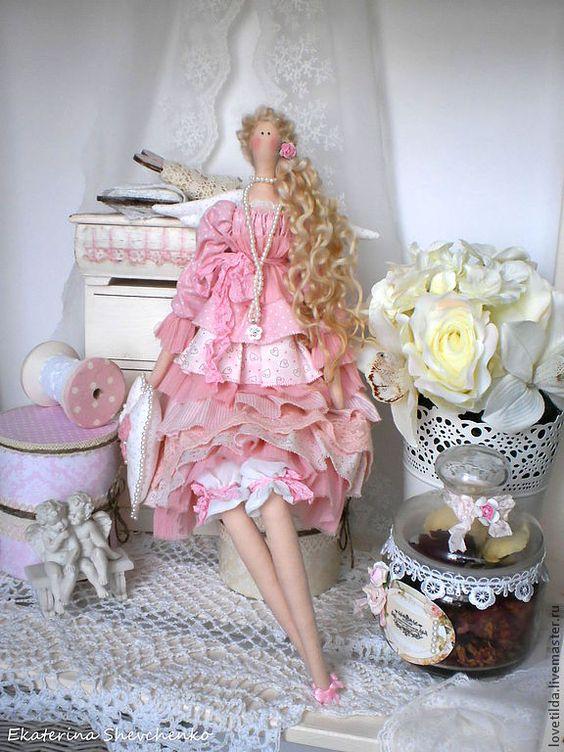 """Купить """"Рivoine rose"""" - ангел в стиле Тильда - розовый, тильда, тильда кукла, интерьерная кукла ♡:"""
