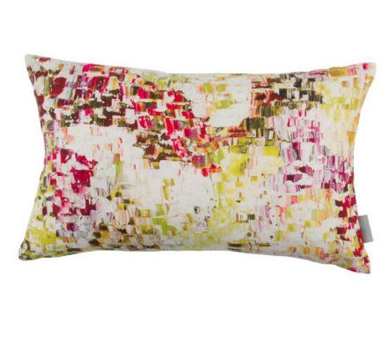 Colourful scattered brush marks. Digital print onvelvet & linen Reverse 100% Linen Dimensions: 50cm x 50cm (Velvet & Linen Lichen) 50cm x 30cm (Wil