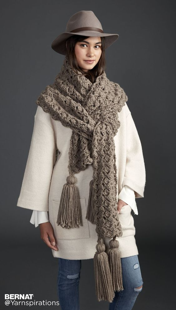 Pump Up The Volume Crochet Super Scarf - Patterns | Yarnspirations | This corner-to-corner crochet Super Scarf, made in Bernat Softee chunky, works up like a dream! Four huge tassels anchor it and add a little wow factor