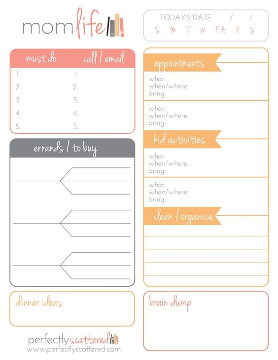 """Free Printable Daily Planner for Moms  Download a free printable daily planner for moms. This planner is two-sided, with one """"mom-life"""" side and one """"biz-life"""" side."""