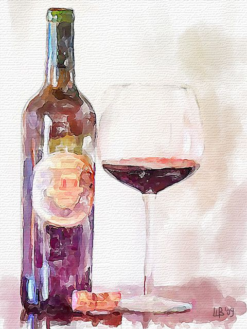 Cabernet digital watercolor illustration a r t for Painting of a wine bottle