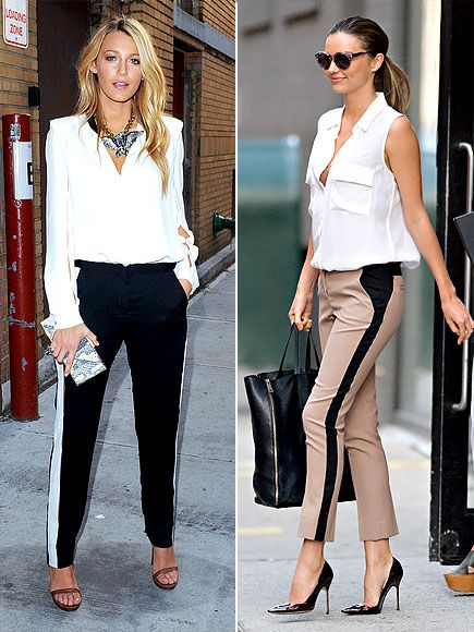 RACING-STRIPE PANTS Blake Lively (a Don't for me), (but a DO for the tan!) on Miranda Kerr ;)