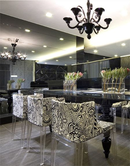 Modern Baroque inspired dining room in monochrome.