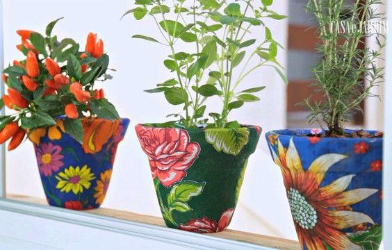 Como encapar vasos com tecido - Casa e Jardim | Especial janelas