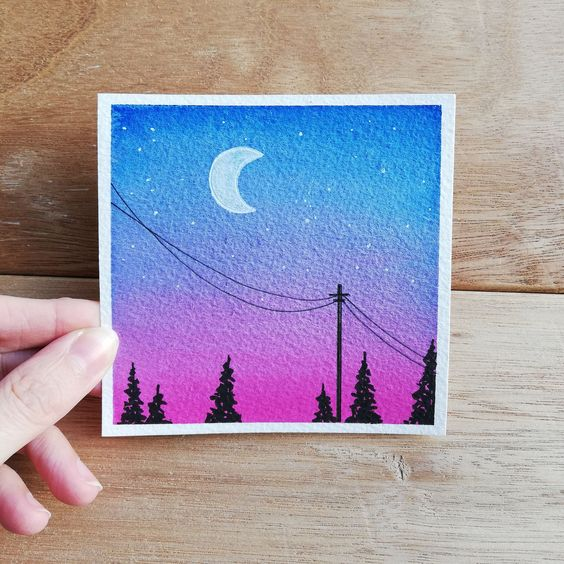 #art #Mini #nightsky #Original #Painting #WATERCOLOR #watercolour
