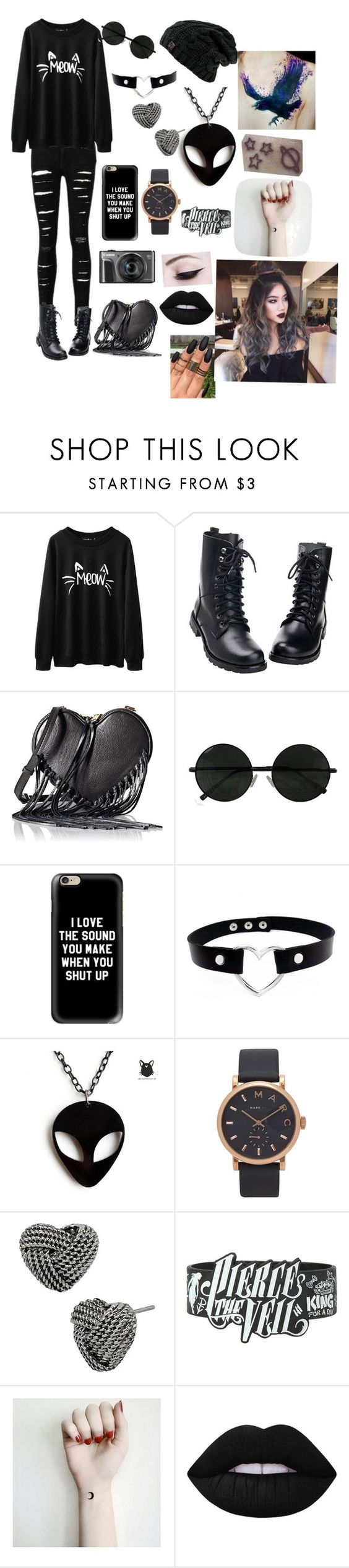 """""""Dark outfit"""" by katiemaise ❤ liked on Polyvore featuring Rebecca Minkoff, Casetify, Marc Jacobs, Betsey Johnson and Lime Crime"""