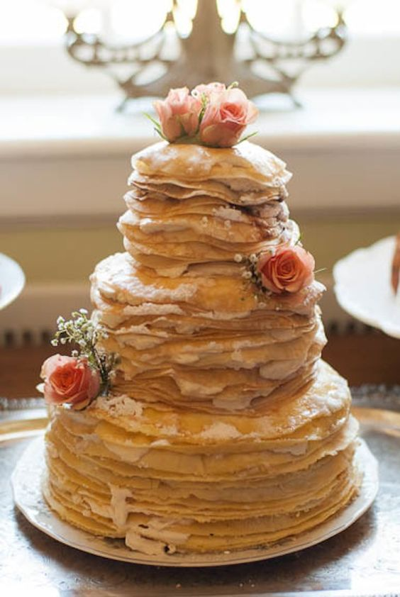 Unique wedding cake alternative - a crepe cake! From a garden, brunch inspired elopement styled shoot. Images by Caitlin Gerres Photography. Cake by Sweet Emma Lou.: