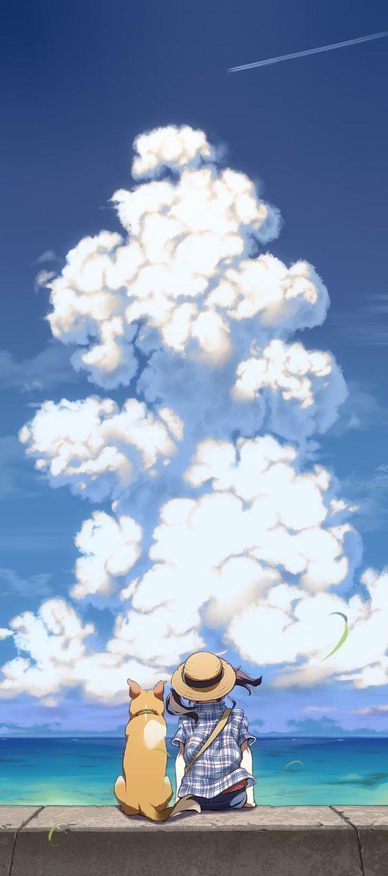 入道雲とおしゃれでかっこいい犬の壁紙