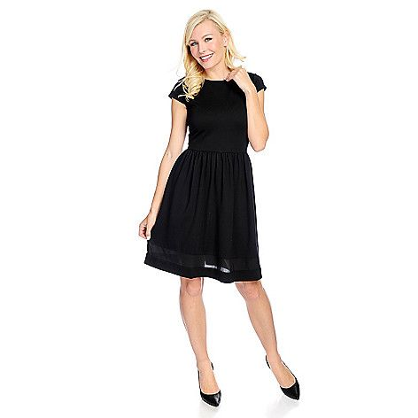 725-349 - Marc Bouwer Stretch Knit Cap Sleeved Sheer Detailed Fit & Flare Dress: