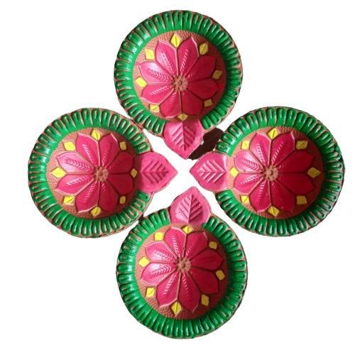 traditionellen Ton-Diya-Sets Diwali Deepawali Erdende /Öllampe mit Baumwolldochten kann mit /Öl Ghee oder Teelicht verwendet werden G /& D Set von 6 handgefertigten