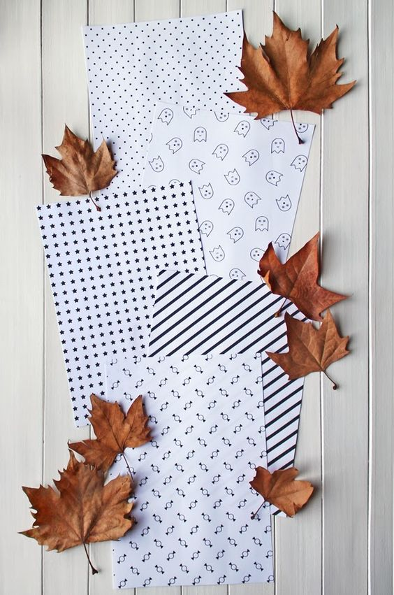 giochi di carta: free printables--free printable Halloween paper patterns--I love the ghosts and candy!  (You may have to scroll down to find the post...)
