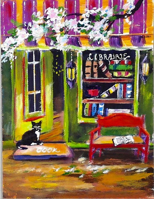 BOOK STORE is a favorite of mine. I love books and this represents hours of reading and enjoying the joy books can bring. 6x8 Village acrylic lesson set #3 is now available for purchase and download  along with the Cafe. www.gingercooklive.gallery