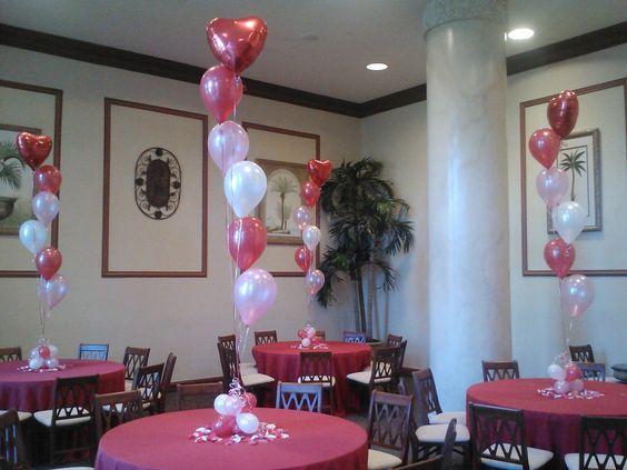 Sweet sixteen balloon arrangements and bat mitzvah on for Helium balloon centerpieces
