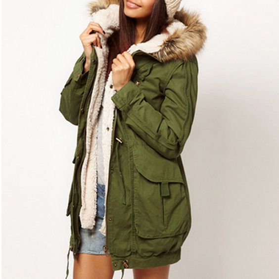 NEW Women Thicken Fleece Warm Winter Coat Zip Hooded Parka
