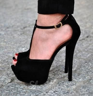 Sexy Black Suede PeepToe Ankle Strap High Heel Sandals  Sexy
