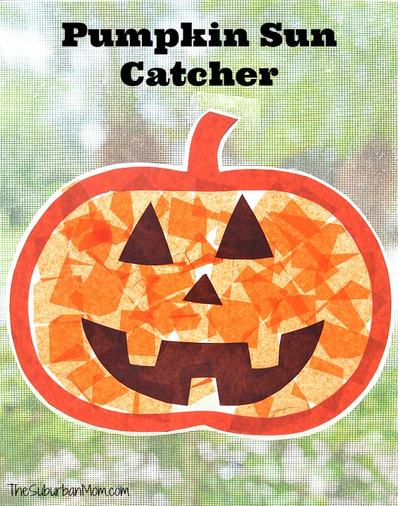 No-mess pumpkin sun catcher is a fun halloween kids craft that you can use as a Halloween decoration year after year. Printable template included.