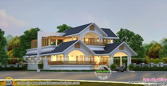 Traditional Contemporary House 2562 Sq Ft Kerala Home Design Kerala House Design House Design Kerala Houses Traditional house plan and elevation