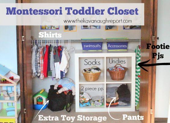 Montessori toddler closet organization
