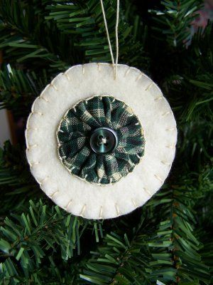 1 Homespun Fabric Yo Yo Felt Penny Rug Christmas Tree Ornament US 1 Cent S: