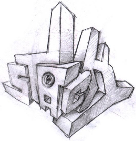 Sketch-3D Graffiti Alphabet 'Letters Stack'   just life ...