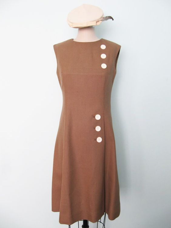 1960s Vintage Mad Men Style ALine Linen Dress L by LaveneRose, $55.00