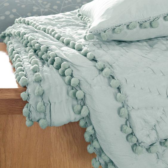 Robin Egg Blue Bedroom Ideas: Celia Duck Egg Silk Throw