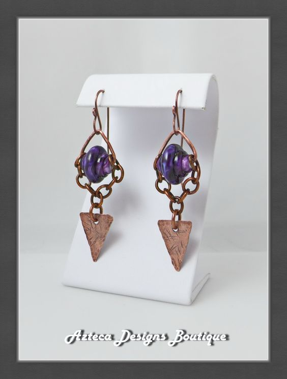 Royal Chica~ Lampwork Copper Metalwork Earrings  by AztecaDesignsBoutique, $42.00 USD