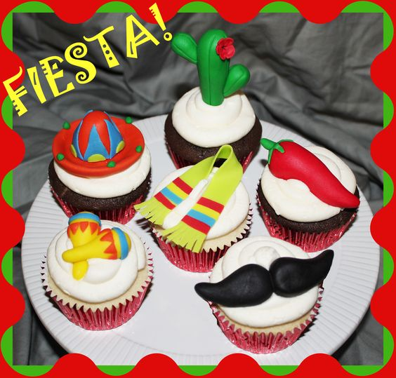 Fiesta! Cupcakes - I got to make these for a teacher appreciation luncheon with a fiesta theme. You should have seent he set up that was done for them! Amazing stuff for well deserving teacher's!