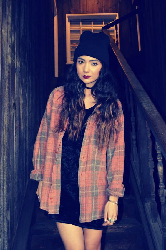 Vintage 90s Grunge Red Plaid Flannel Plaid Flannel Beanie And Hipster Grunge