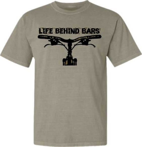 Bicycle T-Shirt Mountain Bike Life Behind Bars Fixed Gear Bike Tshirt. $22.95, via Etsy.