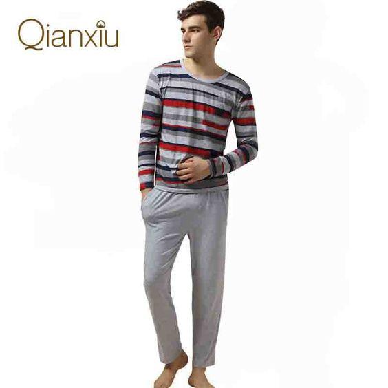 Qianxiu Pajamas Casual Stripes Men Pajama Set Plus Size Sleepwear ...