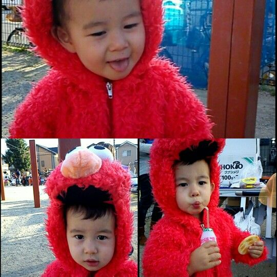Elmo costume collage of my first son