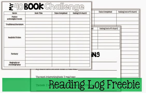 5th Grade Reading Logs for the 40 Book Challenge & Book Series (The Brown Bag Teacher)