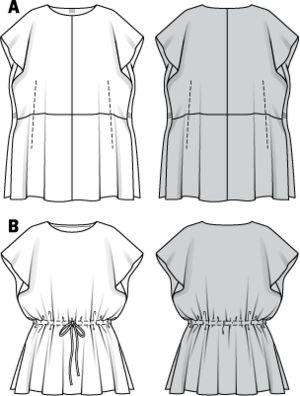 Schnittmuster: Kleid - Tunika - Download - Blusen & Tuniken - Damen - burda style 7445