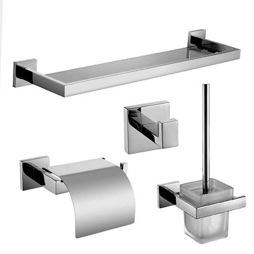 Polished stainless steel bathroom accessories set dual towel bar ...
