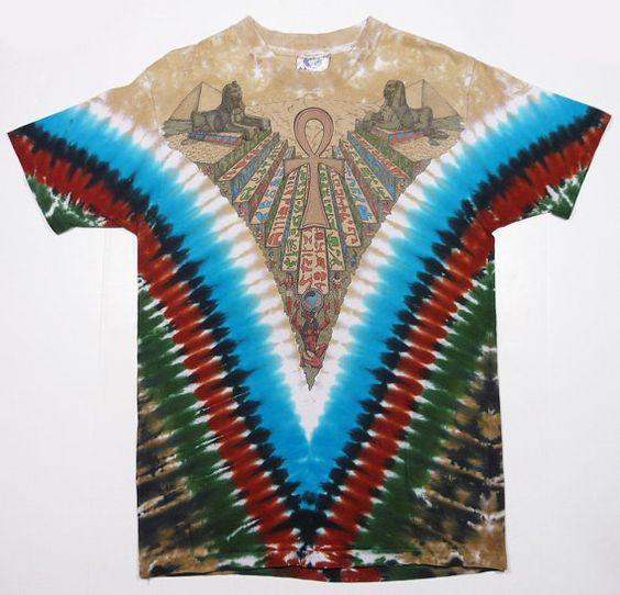 Vintage 90's Liquid Blue tie dye ancient Egypt pyramids sphinx ankh hip hop t-shirt
