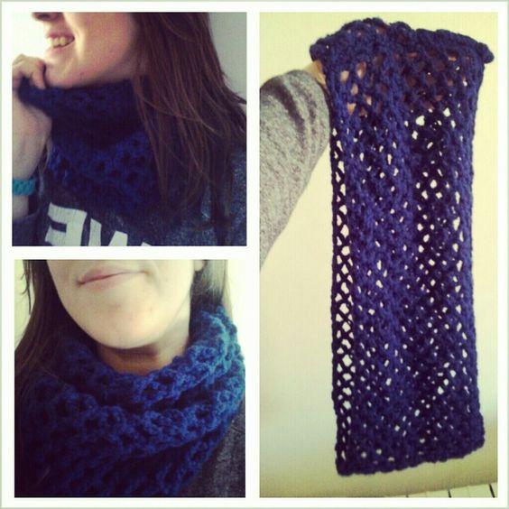 Bufanda de cuello con punto de red (ganchillo, ganxet, crochet)