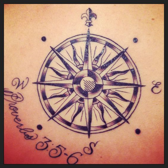 knowing compass tattoo with bible verse me be