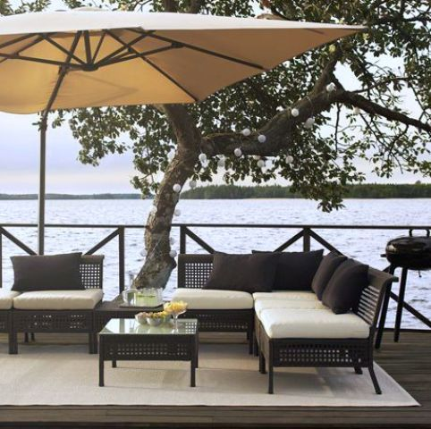 Ikea Kungsholmen Outdoor Lounge Set Of Rattan And Hallo Upholstery In White And Black Pillows Ikea Outdoor Furniture Terrace Furniture Ikea Garden Furniture